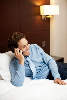 businessman talking over phone
